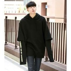 ABOKI - Hooded Layered-Sleeve Pullover