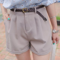 WITH IPUN - Pleat-Front Shorts