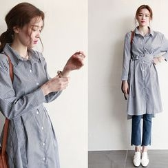 NIPONJJUYA - Tie-Waist Dip-Back Stripe Shirtdress