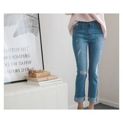 demavie - Distressed Straight-Cut Jeans