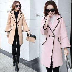 Sienne - Piped Wool Lapel Coat
