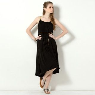 YesStyle Z - Woven Trim Sleeveless Midi Dress with Cord