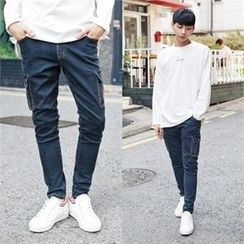 TOMONARI - Drawstring-Waist Cargo-Pocket Tapered Jeans