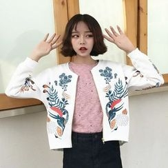 Miss Kekeli - Embroidered Cropped Bomber Jacket