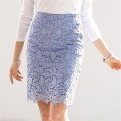 PIPPIN - Lace-Overlay Pencil Skirt