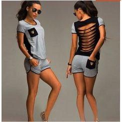 Fundae - 套裝: 後散口短袖T恤 + 短褲