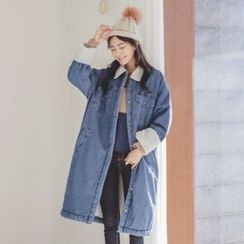 JUSTONE - Fleece-Lined Buttoned Denim Long Coat