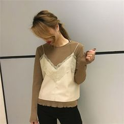 BZY - Set: Lace Trim Camisole Top + Sheer Long-Sleeve T-Shirt