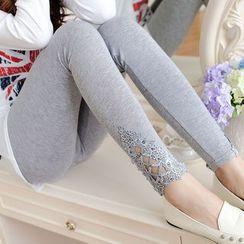 DORRIE - Lace Panel Leggings