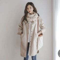 JUSTONE - Stand-Collar Snap-Button Cotton Coat