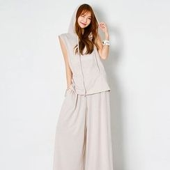 FASHION DIVA - Set: Hood Sleeveless Top + Wide-Leg Pants