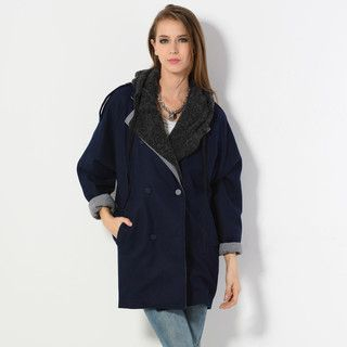 YesStyle Z - Detachable Hood Double-Breasted Coat