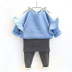 Rakkaus - Kids Set: Plain Pullover + Inset Skirt Leggings