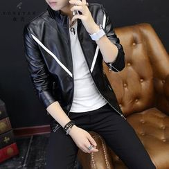 EVAMORE - Contrast Trim Faux Leather Jacket