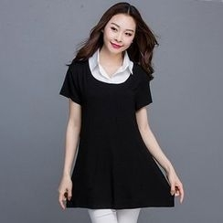 Eloqueen - Mock Two-Piece Short-Sleeve Top