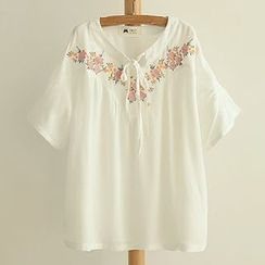 Angel Love - Short-Sleeve Embroidered Top