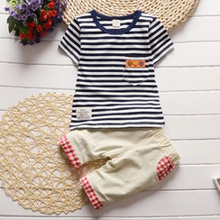 POMME - Kids Set: Stripe Short-Sleeve T-shirt + Shorts
