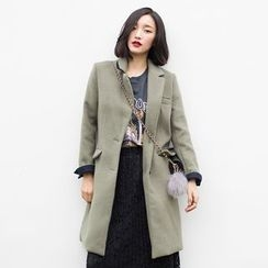Dimosqisi - Silm-Fit Long Single-Breasted Woolen Coat