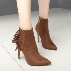 Anran - Fringed High Heel Ankle Boots