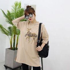 Seoul Fashion - Round-Neck Printed Long T-Shirt