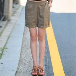 CHICFOX - Band-Waist Linen Blend Shorts