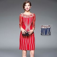 Y:Q - Mesh Panel Striped Sheath Dress