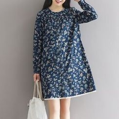 Queen Bee - Floral Print Button Down Long-Sleeve Dress