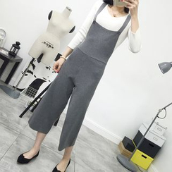 SimplyMe - Cropped Wide Leg Jumper Pants