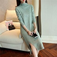 NIZ - Mock-Neck Slit-Side Long Knit Top