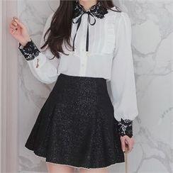 Babi n Pumkin - Inset Shorts Contrast-Trim A-Line Mini Skirt
