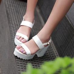 Pastel Pairs - Platform Block Heel Sandals