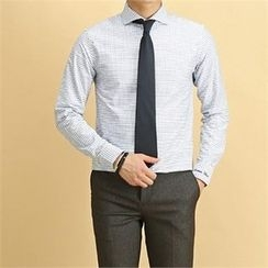 THE COVER - Wide-Collar Graph-Check Shirt