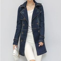 Denimot - Double-Breasted Denim Trench Coat
