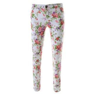 TheLeesW - Floral-Pattern Skinny Pants
