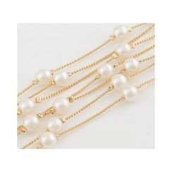 Miss21 Korea - Faux-Pearl Layered Multi-Strand Necklace