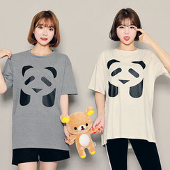 HOTPING - Round-Neck Printed Top