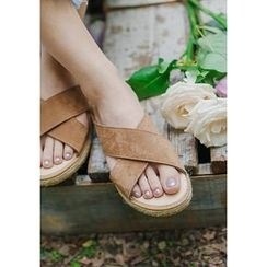 GOROKE - Cross-Strap Espadrille Slide Sandals