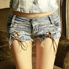 MATITA - Lace-Up Washed Denim Hot Pants