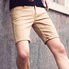Dot2Dot - 纯色斜纹短裤