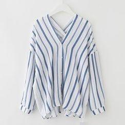 Meimei - 條紋V領襯衫