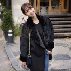 Seoul Fashion - Notched-Lapel Faux-Shearling Jacket