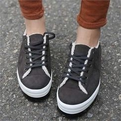 CHICFOX - Faux-Fur Lined Platform Sneakers