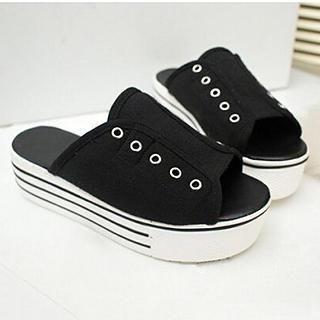 SouthBay Shoes - Canvas Platform Slide Sandals
