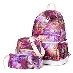 VIVA - Set of 3: Leaf Print Backpack + Crossbody Bag + Pouch
