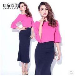 Tang House - Set: Bell-Sleeve Top + Maxi Skirt