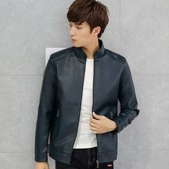 NINETTE - Faux-Leather Stand-Collar Zip Jacket