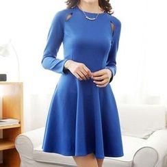 Isadora - Long-Sleeve Cut Out A-Line Dress