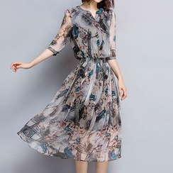 LunarS - Elbow-Sleeve Lace Print Midi Dress