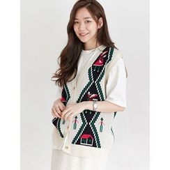 FROMBEGINNING - Patterned Button Knit Vest