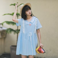Moricode - Frill Trim Heart Embroidered Short Sleeve Dress